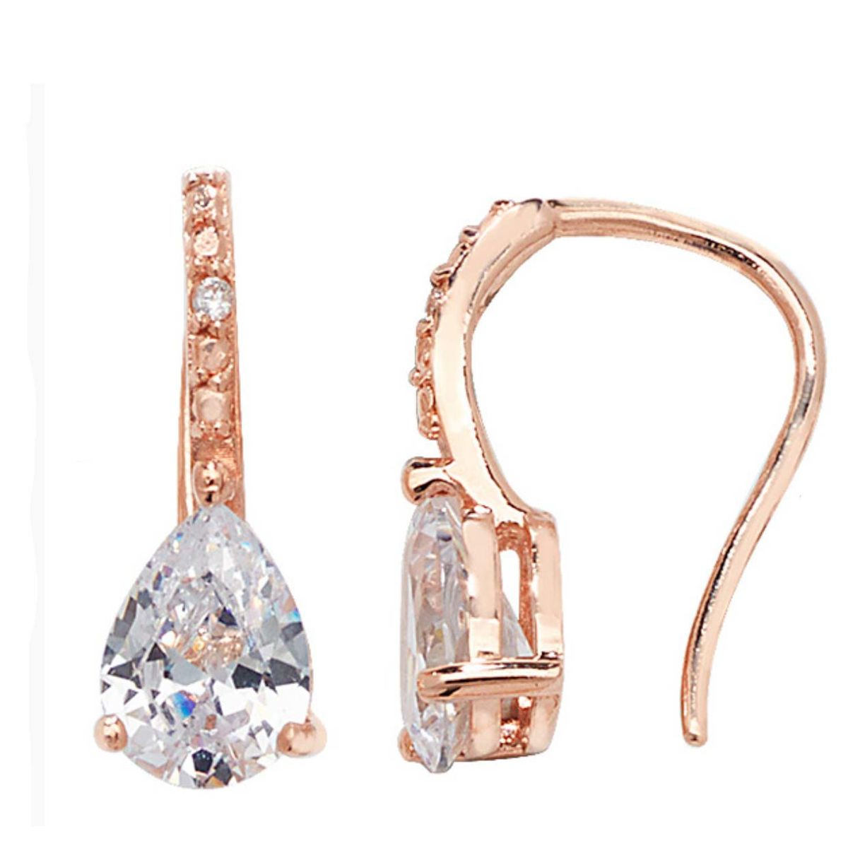 Sterling silver & crystal rose gold drop earrings - product images  of