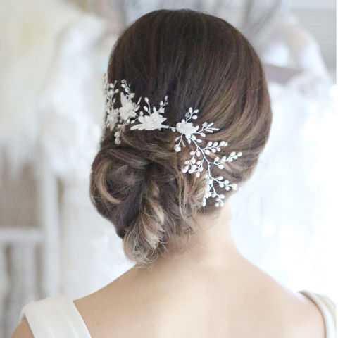 Emily,Freshwater,Pearl,Hair,Vine,hair vine, pearl hair vine, wedding hair vine, lace hair vine, wedding vine, bridal hair vine