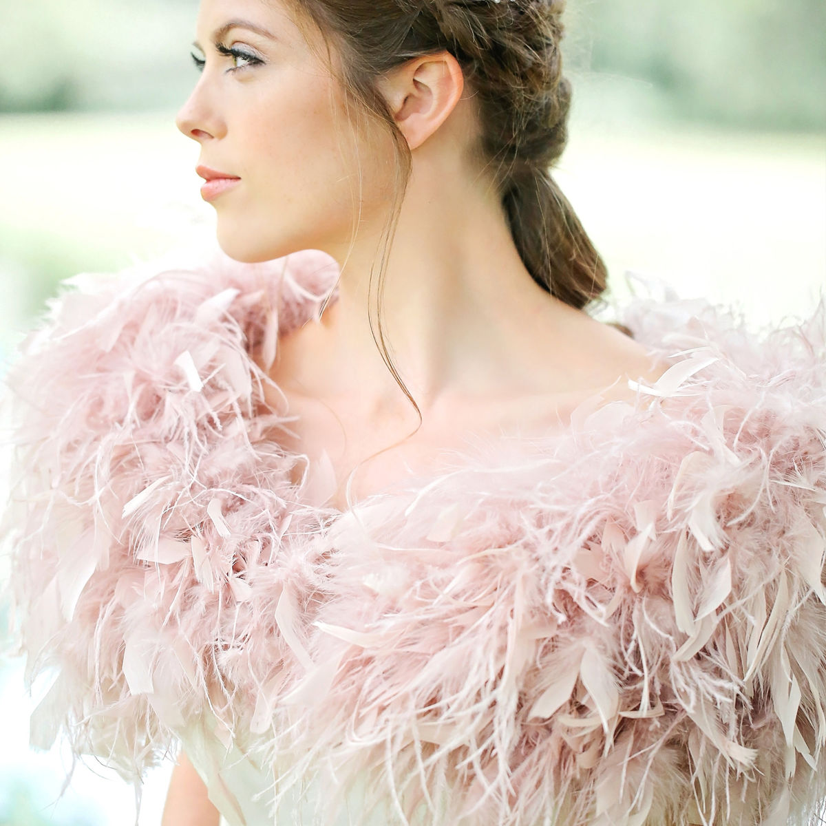 Ostrich Feather Wrap - Blush Pink - product images  of