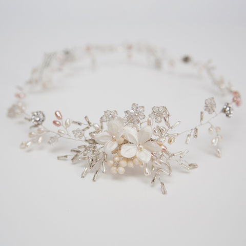 Silver,Crystal,Floral,Hair,Vine,Weddings,Accessories,bridal_hair_vines,ivory_hair_vines,chic_hair_vines,bridal_boho,bridal_accessories,wedding_accessories,bridal_circlets,bridesmaid_gift,brides_hair_vine,rhinestone_hair_vine,pearl_hair_vine,boho_hair_vine,boho_style_bridal,freshwater pe