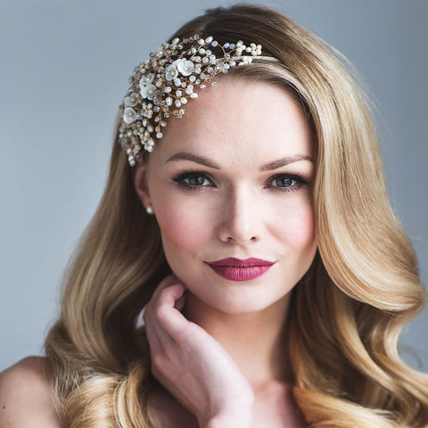 Ivory,Bow,Feshwater,Pearl,&,Crystal,Headdress,ivory bow crystal and pearl headdress, bridal headdress, crystal headdress, floral headdress, timeless bridal headbands, freshwater pearl headdress, freshwater pearl headband, pearl headdress
