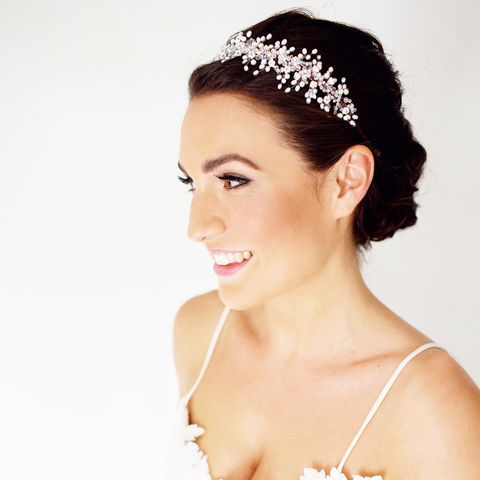 Genevieve,Pearl,Headdress,genevieve pearl headdress, pearl headdress, bridal headdress, timeless bridal headband, swarovski crystal headdress
