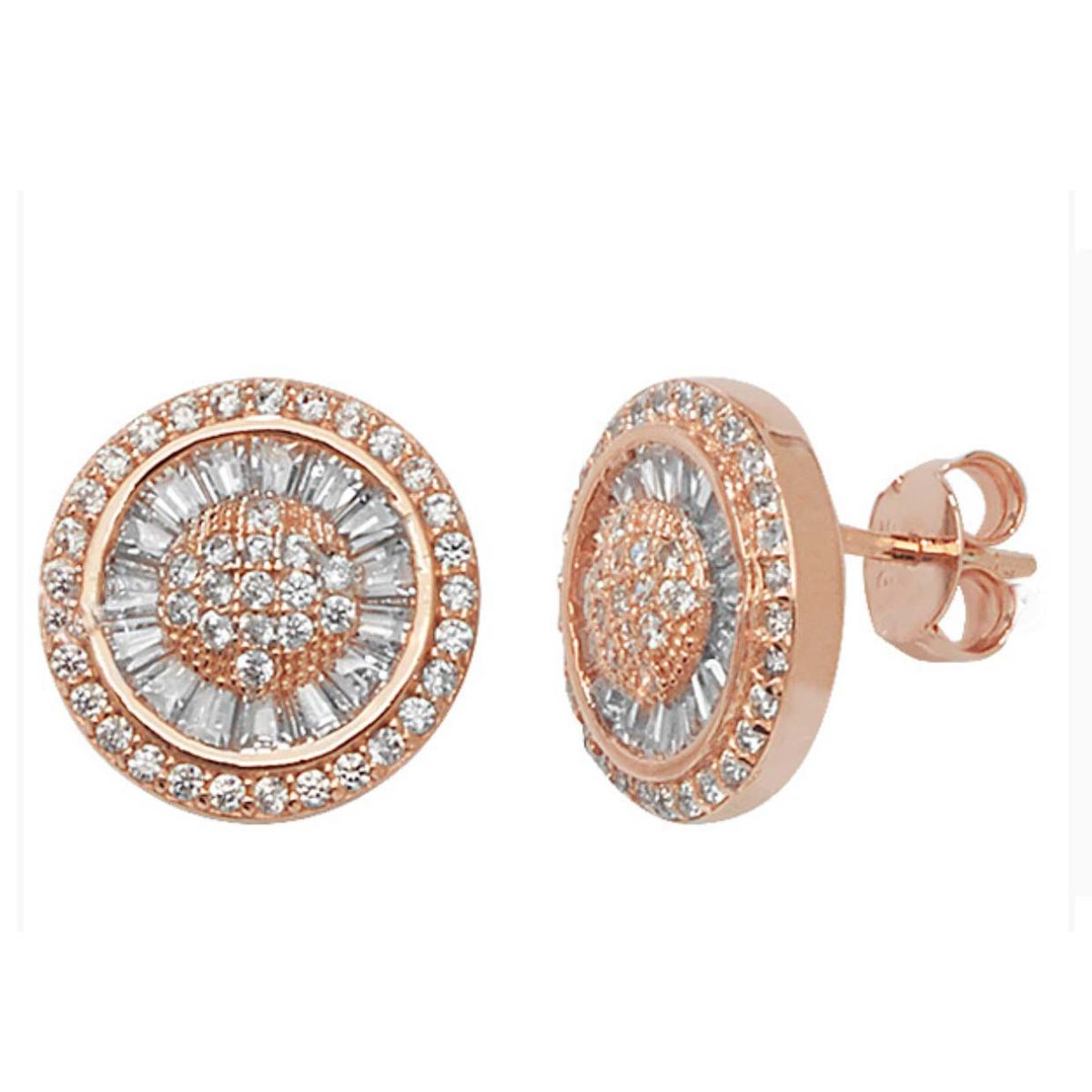 Sterling Silver (Rose Gold) Round Earrings - product images  of