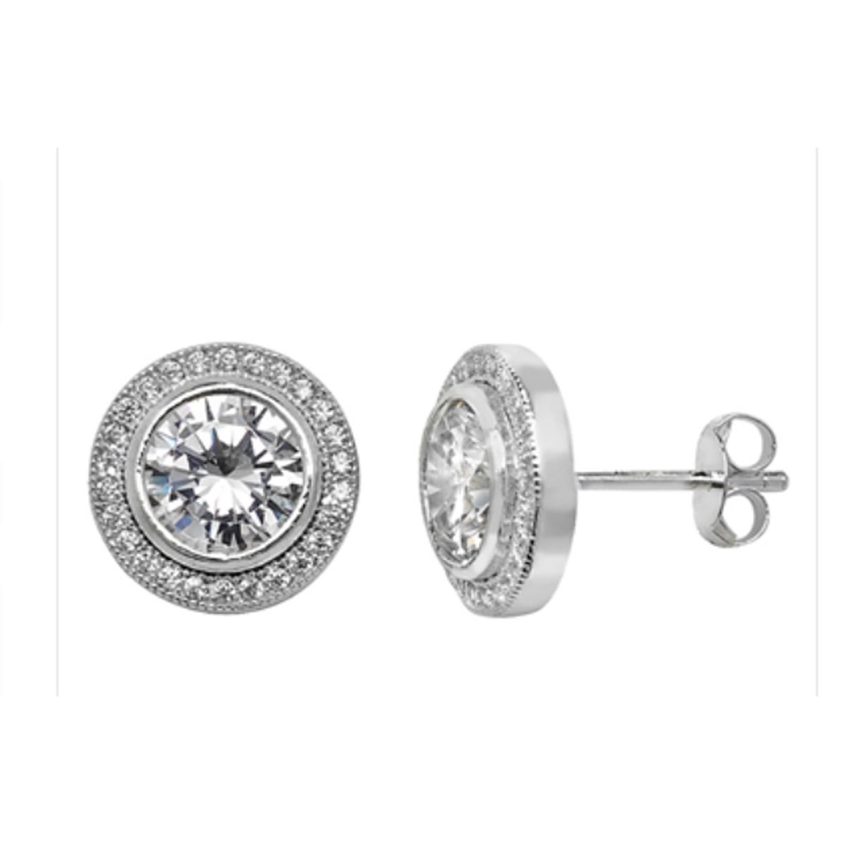 Sterling Silver Round Crystal Earrings - product images  of