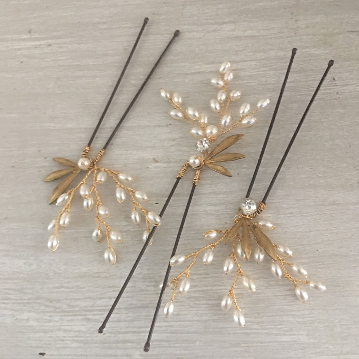 Gold & Ivory Pearl Hair Pins - product images  of