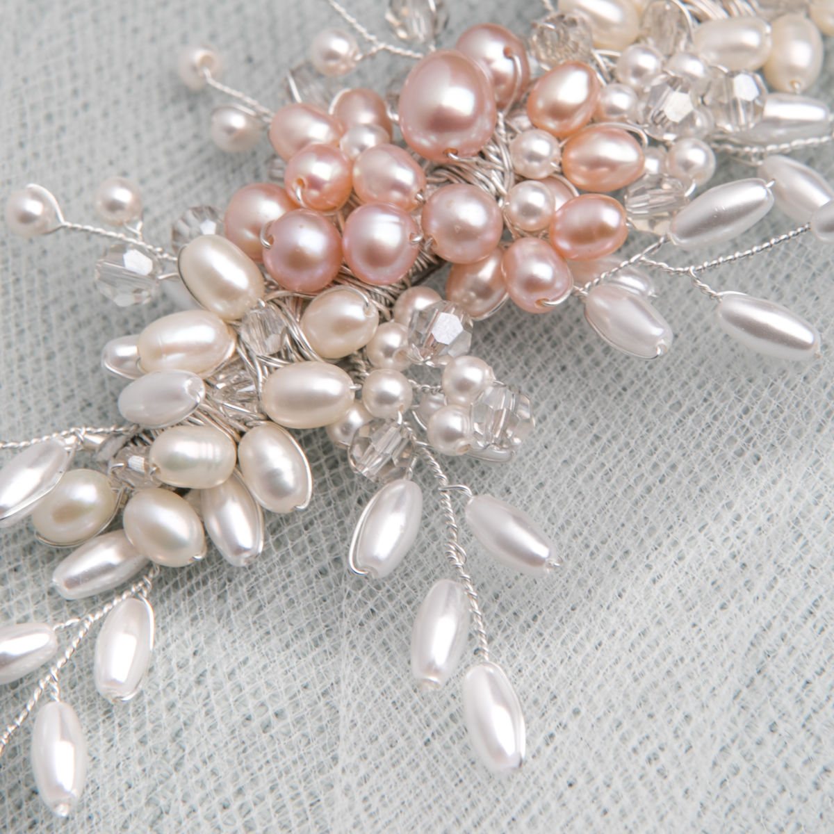 Pink & Ivory Fresh Water Pearl Hair Vine - product images  of