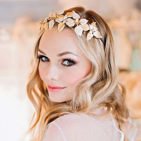 Helaine,Gold,Crown,gold crown,leaf headdress,bridal_headdress,gold_headpiece,grecian_headpiece,leaf_style_headdress,botanical_headdress,isamene_headdress,swarovski_crystals,swarovski_headdress,side_headdress,grecian_hair_vine,bridal_accessories,vi