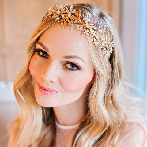 Myriah,Gold,Crystal,Crown,gold crown,leaf headdress,bridal_headdress,gold_headpiece,grecian_headpiece,leaf_style_headdress,botanical_opal crystals_headdress,swarovski_crystals,swarovski_headdress,side_headdress,grecian_hair_vine,bridal_accessories,vi