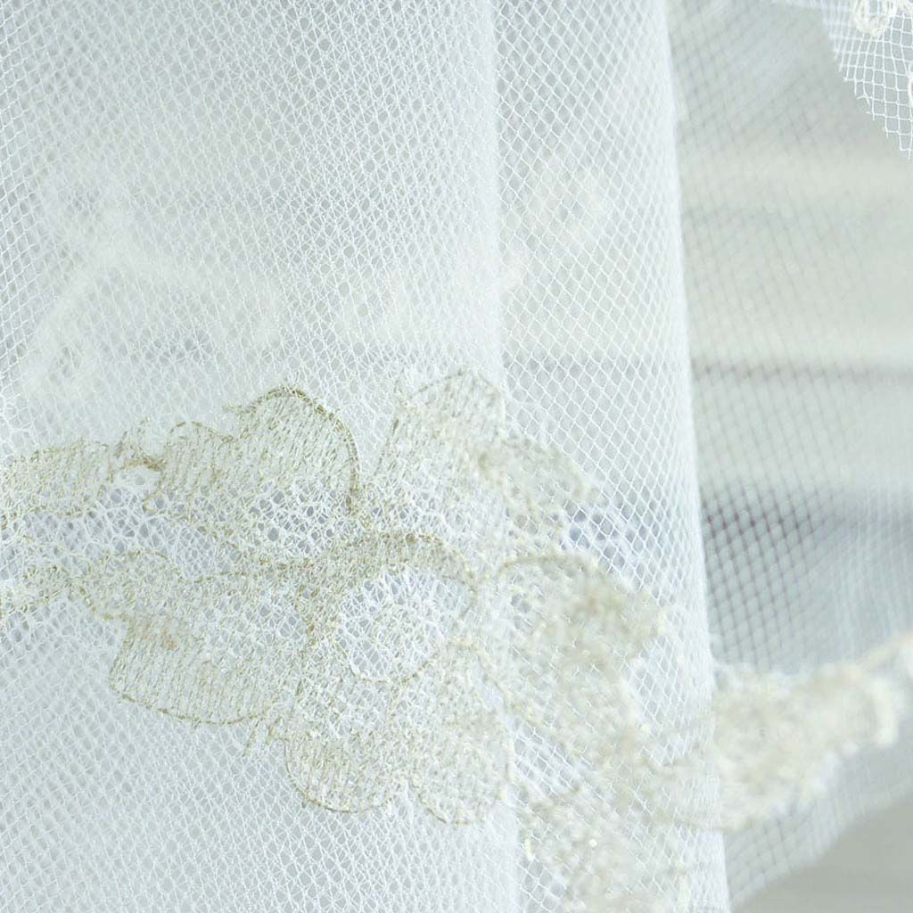 Scalloped edge embroidered tulle veil - two teir - product images  of