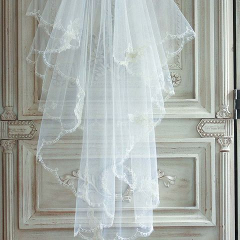 Scalloped,edge,embroidered,tulle,veil,-,two,teir,wedding veil, scalloped edge veil, tulle veil, embroidered veil, bridal veil, silk veil, elbow length veil, fingertip length veil, cathedral veil, church veil, ivory veil, floor length evil