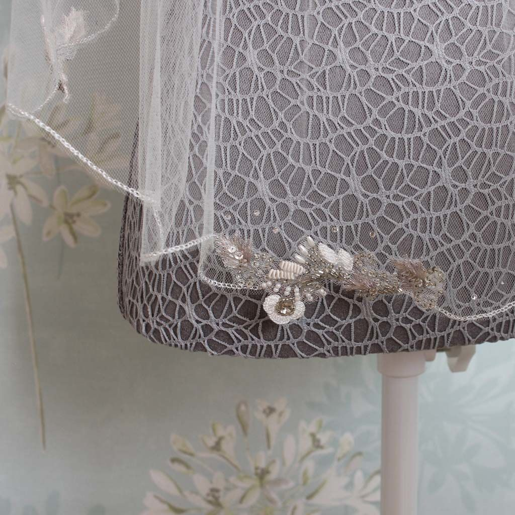 Scalloped edge embellished veil - product images  of
