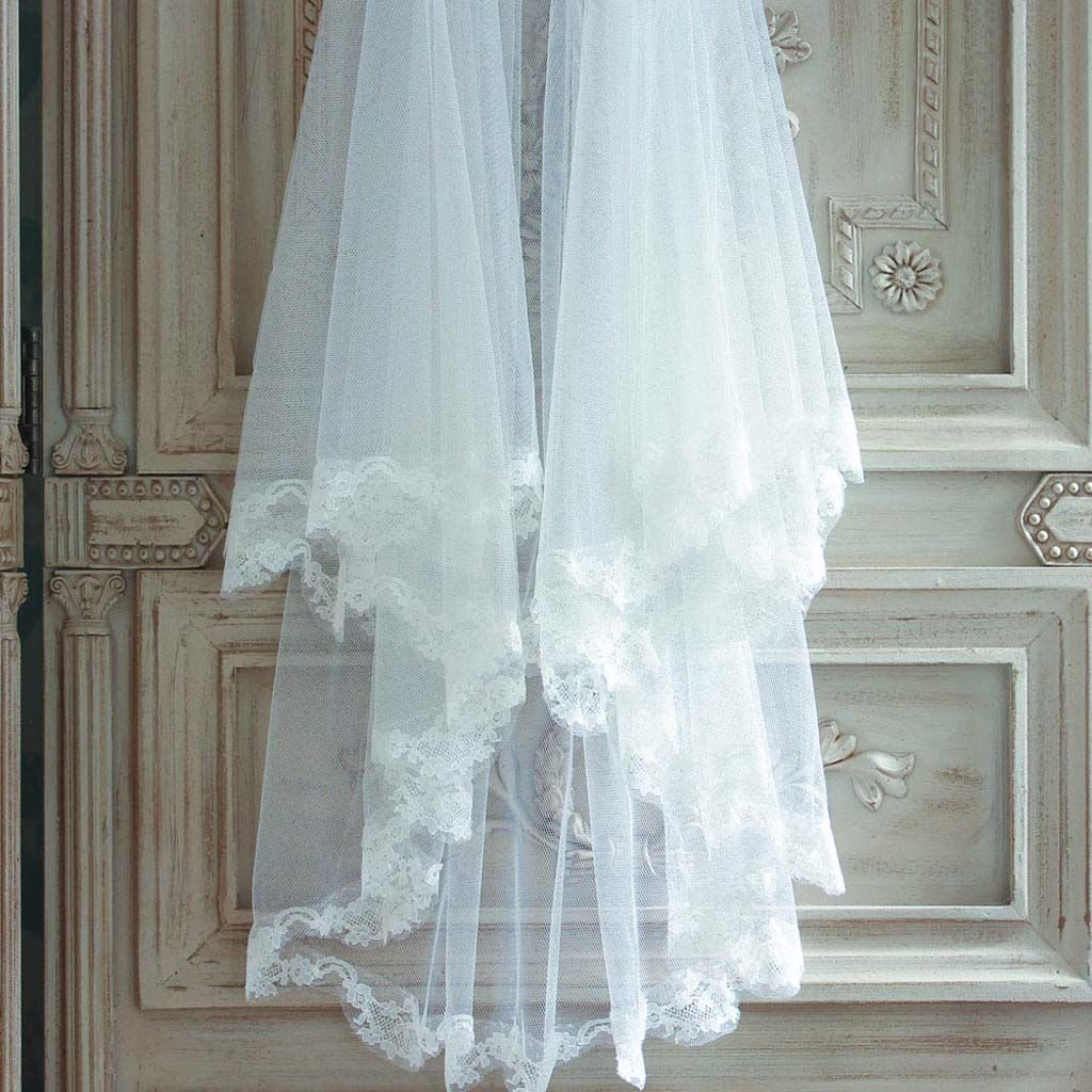Lace edged soft tulle veil - product images  of