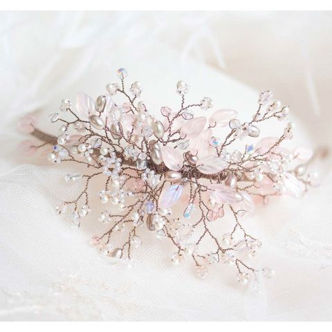 Gypsy,Blush,Headdress,gypsy beaded headdress, crystal headdress, bridal headdress, vintage inspired headdress, blue headdress, crystal wedding hairband