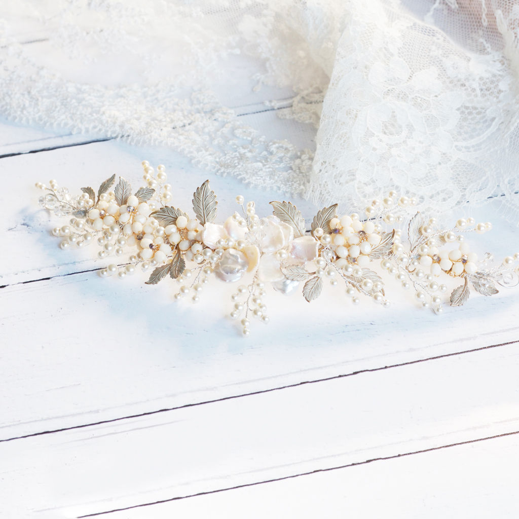 Jasmine Keishi Pearl Bridal Headdress - product images  of