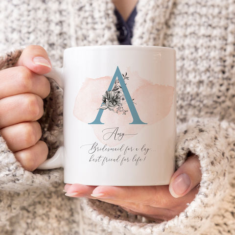 Personalised,Bridesmaid,Monogram,Mug,bridesmaid personalised monogram mug, monogram mugs, personalised mugs, wedding mugs, personalised gifts, wedding gift mugs