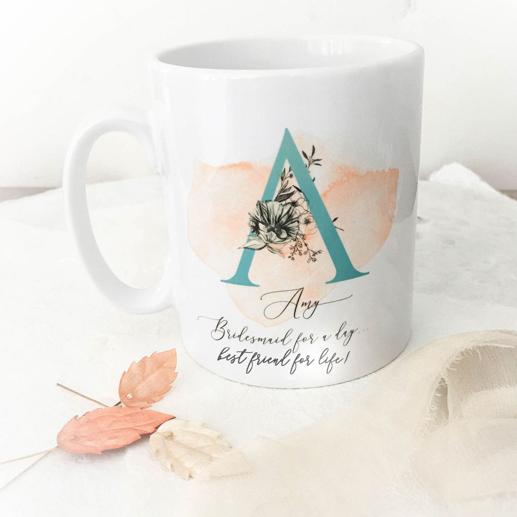 personalised bridesmaid monogram mug donna crain accessories