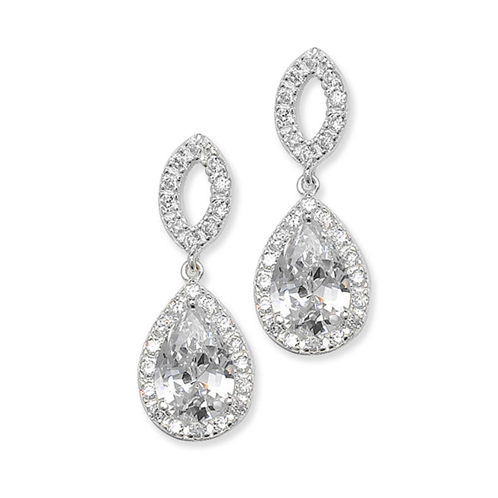 Sterling silver crystal drop earrings & matching pendant - product images  of