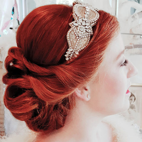 Annabelle,Headdress,Annabelle headdress, Art Deco headdress, wedding accessories, Art Deco wedding accessories, vintage inspired headdress, donna Crain accessories