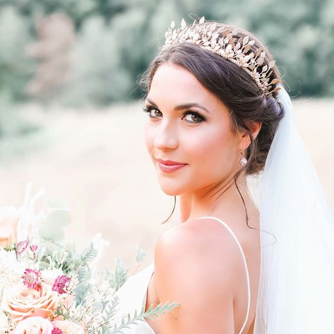 Wild,Beauty,Ethereal,Crown,bridal headdress, crystal headdress, bridal crown, halo-style headdress, donnacrainsurrey, Surrey bridal, game of throne crown, wild beauty gold crown, gold leaf crown, game of thrones crown, donna Crain