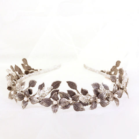 Nymph,Silver,Crown,nymph silver crown, bridal crown, silver leaf headdress, bridal headdress, princess crown