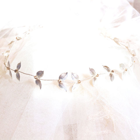 Silver,leaf,hair,vine,botanical hair vine, silver hair vine, leaf hairvine, bridal hair vines