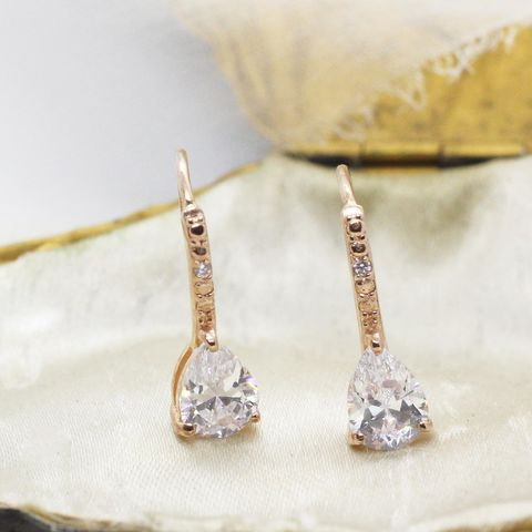 Sterling,silver,&,crystal,rose,gold,drop,earrings,crystal earrings, bridal earrings, earring gift, gifts for bridesmaids, bridesmaid earrings, crystal earrings,