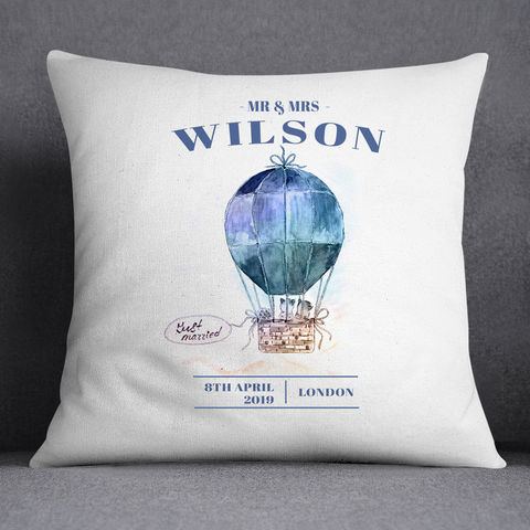 Personalised,Wedding,Gift,Complete,Cushion,personalised wedding cushions, couple's scatter cushion, hot air balloon cushion