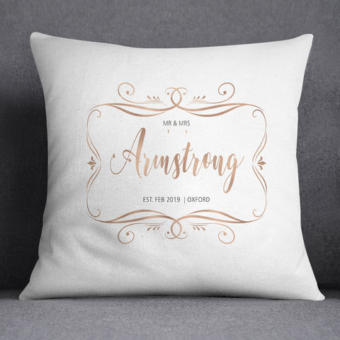 Customised,Wedding,Gift,personalised wedding cushions, rose gold framed personalised cushion, mr and mrs cushion, mr and mr gift, mrs and mrs gift