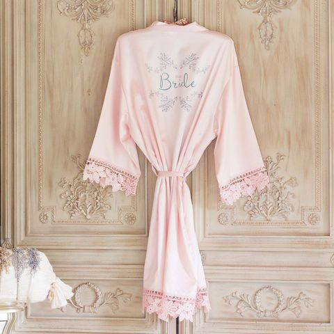 Blush,Satin,&,Lace,Kimonos,-,personalised,blush satin kimonos, personalised kimonos, children's kimons, lace kimonos, plain bridal robes