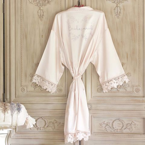Champagne,Satin,&,Lace,Kimonos,-,personalised,satin bridal kimonos, personalised kimonos, children's kimons, lace kimonos, plain bridal robes, robes