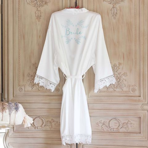 White,Satin,and,Lace,personalised,Kimono,satin kimonos, personalised kimonos, children's kimons, lace kimonos, plain bridal robes