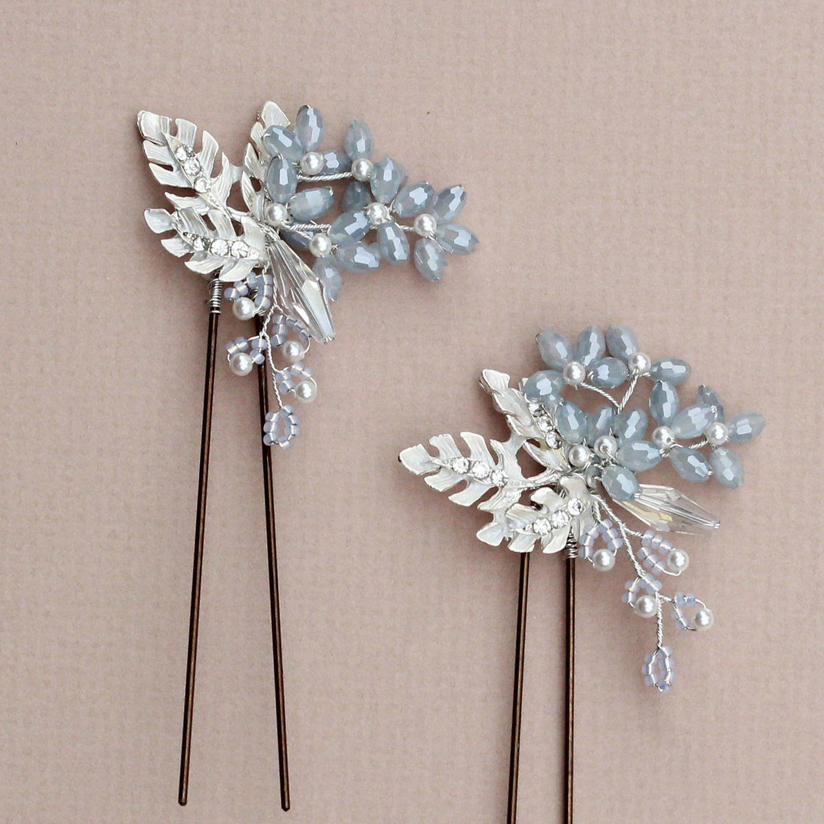 Maria Opal Blue crystal hair pin - product images  of