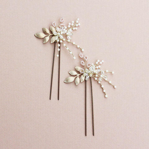 Bainbridge,gold,accent,hair,pin,bridal hair pins, bridesmaid pins, wedding star pins, wedding accessories, bridal hair accessories, Surrey bridal, donnacrainsurrey, crystal hair pins, pearl hair pin, luxury hair pins, gold leaf hairpin