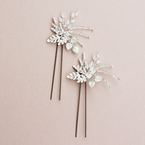 Olive,hair,pin,bridal hair pins, bridesmaid pins, wedding star pins, wedding accessories, bridal hair accessories, Surrey bridal, donnacrainsurrey, crystal hair pins, pearl hair pin, luxury hair pins, gold leaf hairpin