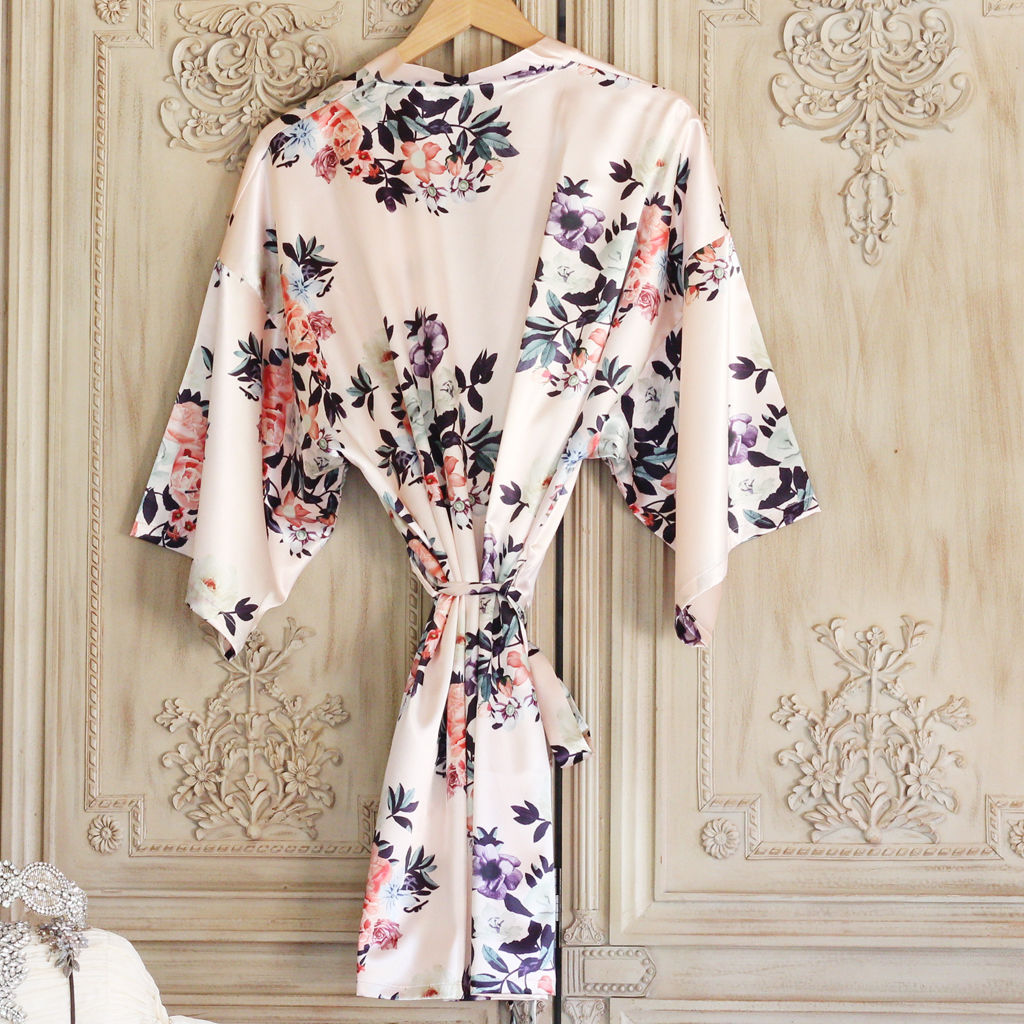 Blush Satin Floral Kimono - product images  of