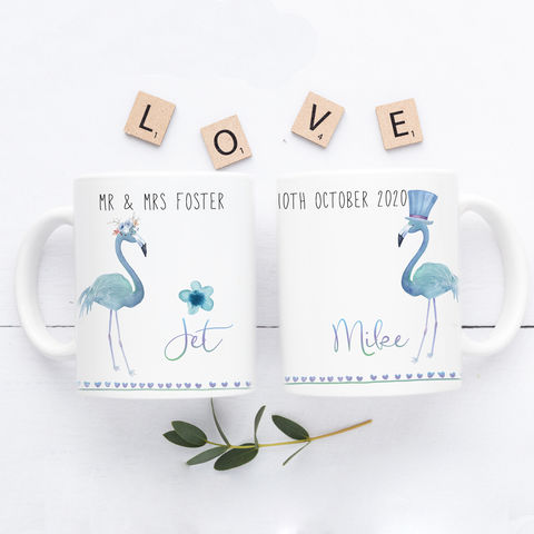 Personalised,couple,mug,set,personalised wedding mugs, his & her mugs, flamingo mugs, flamingo wedding mugs, mr and mrs gifts, mr and mrs wedding gift, personalised gifts