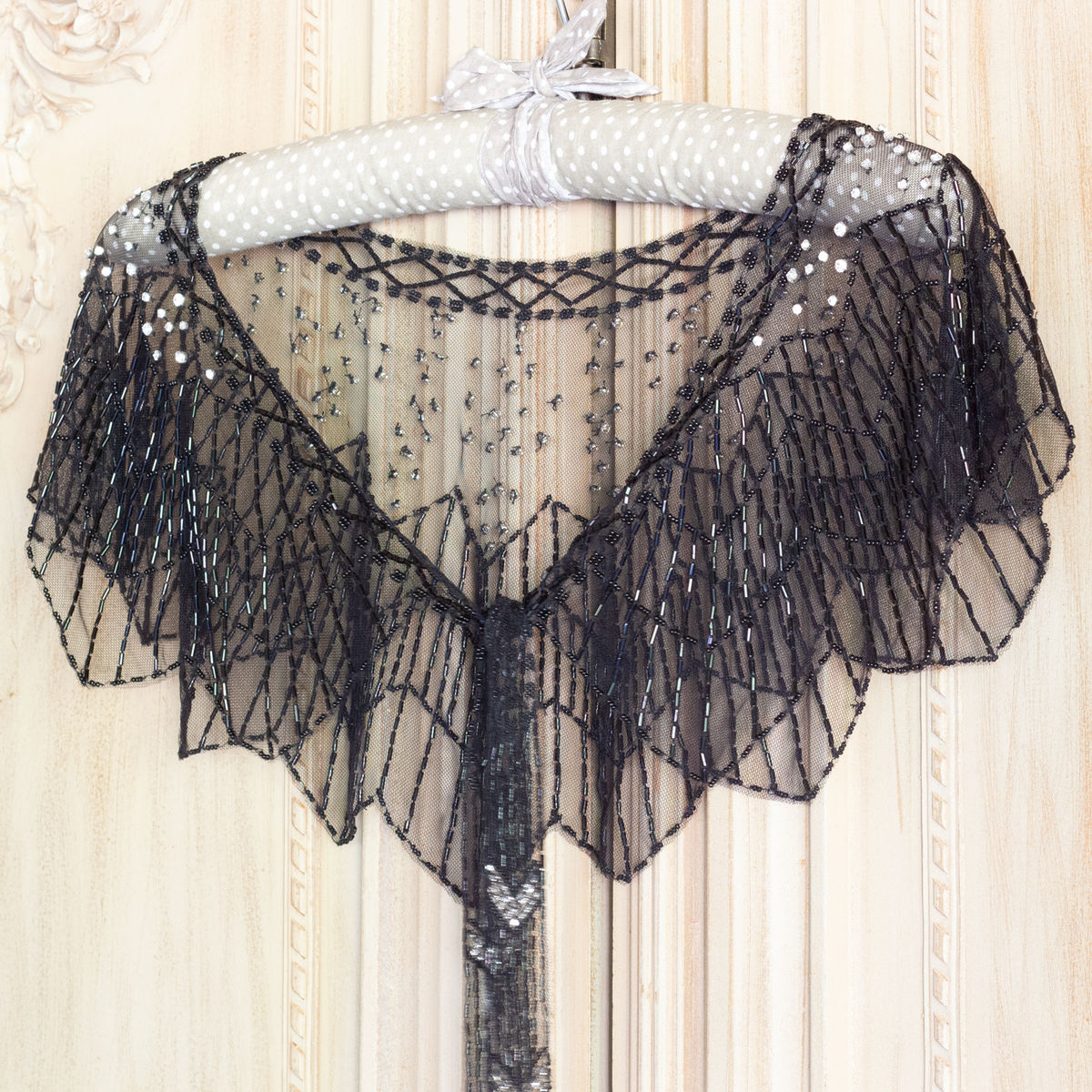 Hand Beaded Silver Capelet Cover Up - product images  of