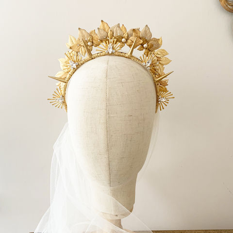 Apollo,-,Golden,Halo,Headdress,bridal headdress, crystal headdress, bridal crown, halo-style headdress, donnacrainsurrey, Surrey bridal, halo tiara headdress, gold leaf crown, gold tiara headdress with Swarovski pearls and crystals, wedding leaf tiara, bridal headpiece