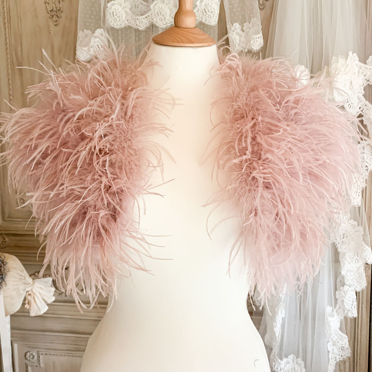 Luxury Blush Ostrich Feather Jacket - product images  of