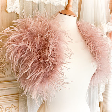 Luxury,Blush,Ostrich,Feather,Jacket,blush luxury ostrich feather bolero, blush pink feather bolero, feather wrap, luxury wrap, bridal feather wrap