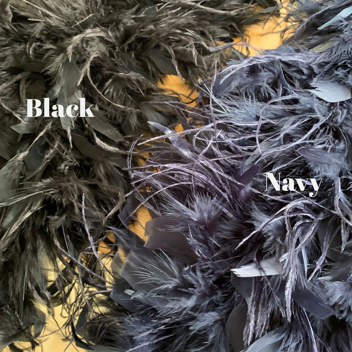 Ostrich Feather Wrap | Black | Navy - product images  of