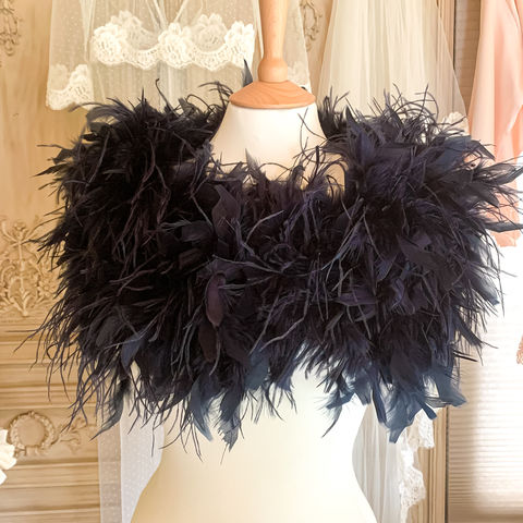 Ostrich,Feather,Wrap,|,Black,Navy,ostrich feather wrap, black feather wrap, navy feather bolero, black bolero, feather wraps