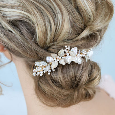 LILY,KEISHI,PEARL,HAIR,VINE,Lily hair vine,  Swarovski crystal pearl comb, lily comb, Keishi pearl headdress, swarovski crystal headdress, statement bridal comb