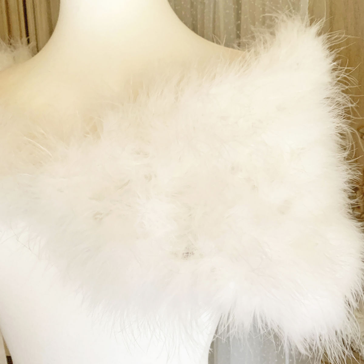 Ivory Feather Wrap - Marabou Feather - product images  of