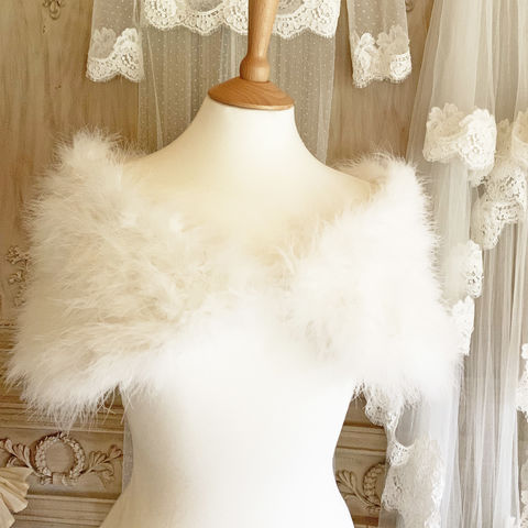 Ivory,Feather,Wrap,-,Marabou,feather wraps, ostrich feather bolero, marabou feather wraps, feather cover-ups, luxury wraps, luxury boleros