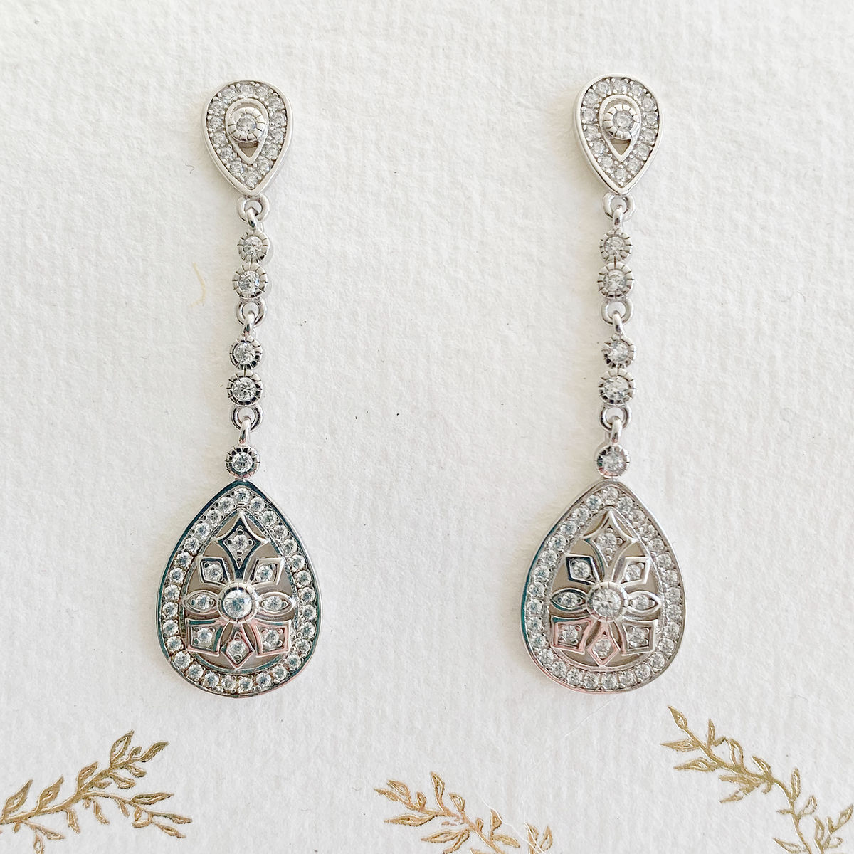 Timeless drop crystal earrings - sterling silver - product images  of