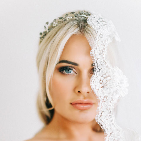 Anina,Bridal,Crown,Anina bridal headdress,  Surrey wedding accessories, Surrey bridal, wedding accessories, bridal shop Surrey, bridal, Swarovski pearls and crystals headdress,  bridal headdress, bridal halo, flora halo crown, pearl crown