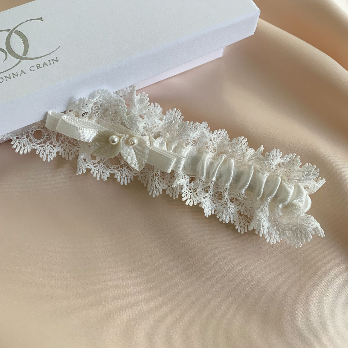 Lace and satin wedding garter - product images  of