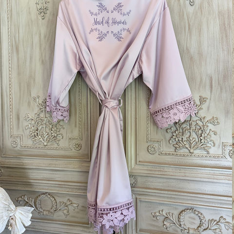 Satin,&,Lace,Robe,bridal robes, personalised robes, satin bridal kimonos, personalised kimonos, children's kimons, lace kimonos, plain bridal robes, robes