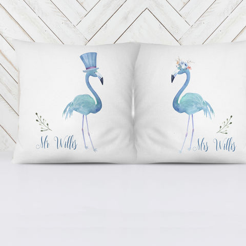 Set,of,Flamingo,personalised,scatter,cushions,personalised wedding cushions, flamingo scatter cushions, flamingo cushion